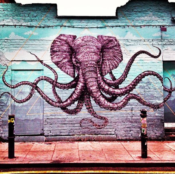 Elephant - octopus street art