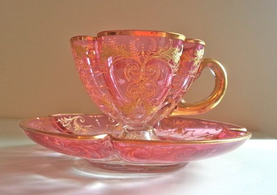 Antique Moser cranberry glass demitasse tea cup and by Pickedtwice, $145.00