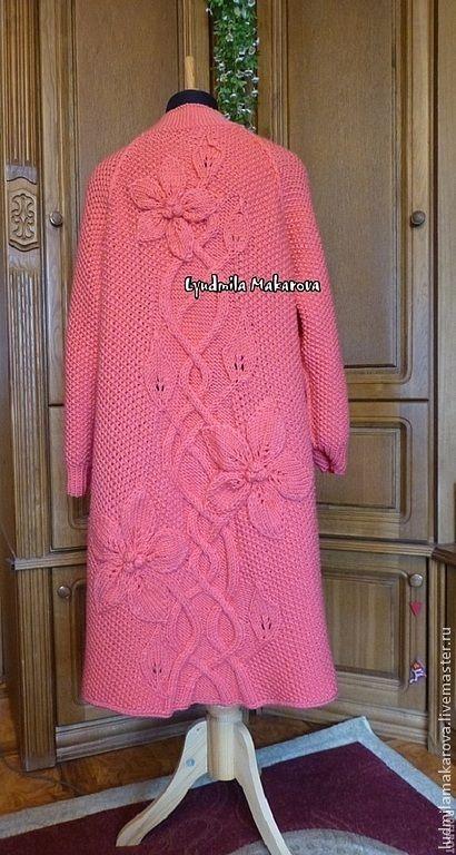 """Купить Пальто """"Розовые клематисы"""" - коралловый, однотонный, пальто, пальто женское, пальто из шерсти"""