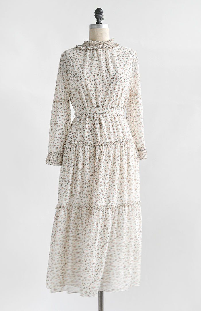 Vintage And Vintage Inspired Clothing White Floral Longsleeve Prairie Maxi Dress Old Fashioned Girl Old Fashion Dresses Vintage Maxi Dress Vintage Fashion