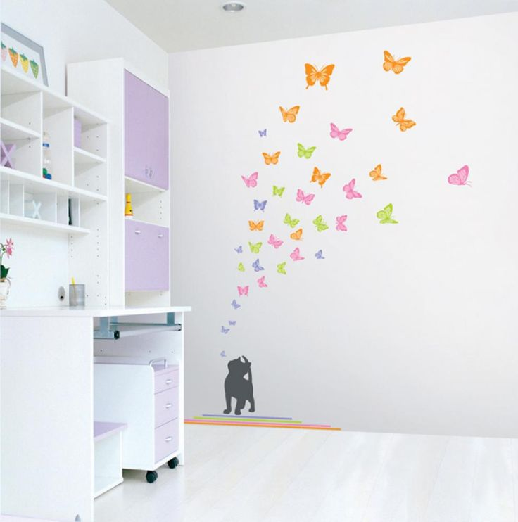 Nursery Easy Apply Wall Sticker Decorations   Kittens Can See Color Too  (Butterflies) Part 46
