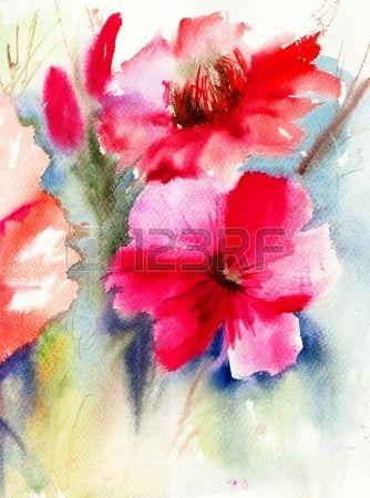 Fleurs color es rouges peinture aquarelle Banque d'images