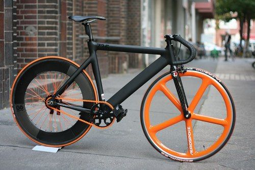 black and orange fixed gear!