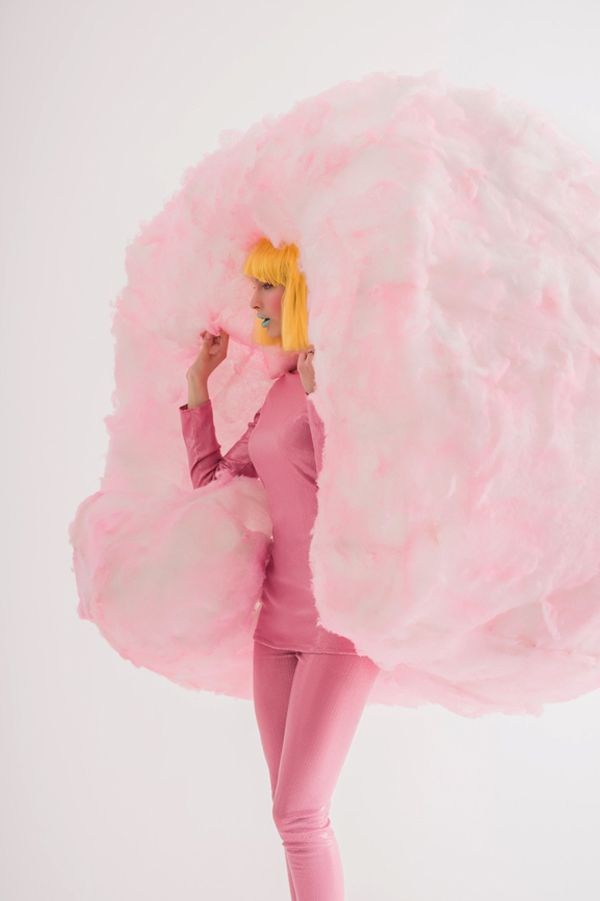 I've never been big on Halloween spook… but party costumes!?! Bright and colorful dress up. That is fun I am always on board for. Continuing our colorful Halloween tradition of the past few years – here is the latest idea in our party costume series. Cotton Candy! Because adorning a huge poof of pink fluff …