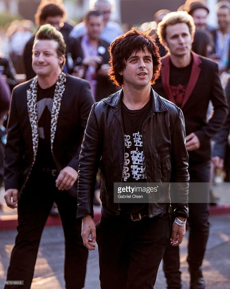 Tre Cool, Billie Joe Armstrong and Mike Dirnt of Green Day arrive for the 2013 Newport Beach Film Festival Opening Night Gala premiere of 'Broadway Idiot' at Edwards Big Newport on April 25, 2013 in Newport Beach, California.
