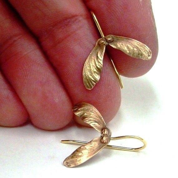 Japanese Maple Seed Earrings in Bronze and by PatrickIrlaJewelry