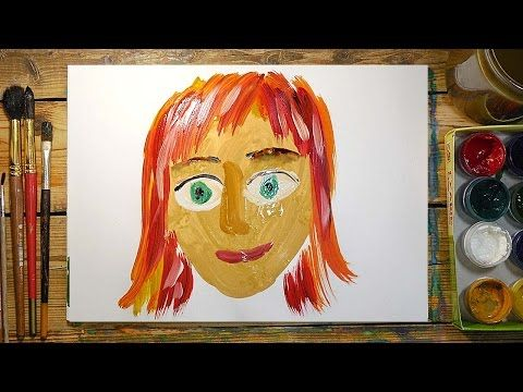 Как нарисовать МАМУ красками   Простые рисунки красками   Урок рисования для детей - YouTube