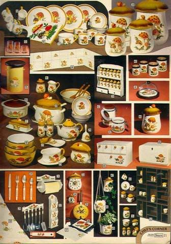 "Sears' ""Merry Mushroom"" set from the 70's. This pattern was everywhere! Mushrooms and frogs were very big back then, along with ""earth tones."""