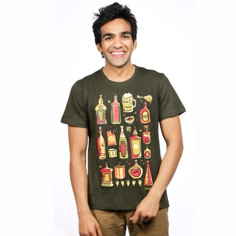 Bottle print Basic Tee. Perfect for Happy Hours and that luncheon with wine. Try not to get hung over on this one. These fun t-shirts come in 100% cotton and its stretchability ensures the funky design is complemented by complete comfort. To buy this, visit http://www.chumbak.com/apparel/tshirts-tops/mens/daaru-in-olive-men-t-shirt.html
