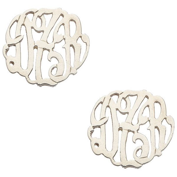 Danielle Stevens Max and Chloe Monogrammed Earrings ($75) ❤ liked on Polyvore featuring jewelry, earrings, danielle stevens, monogram earrings, metal jewelry, monogram jewelry and stud earring set