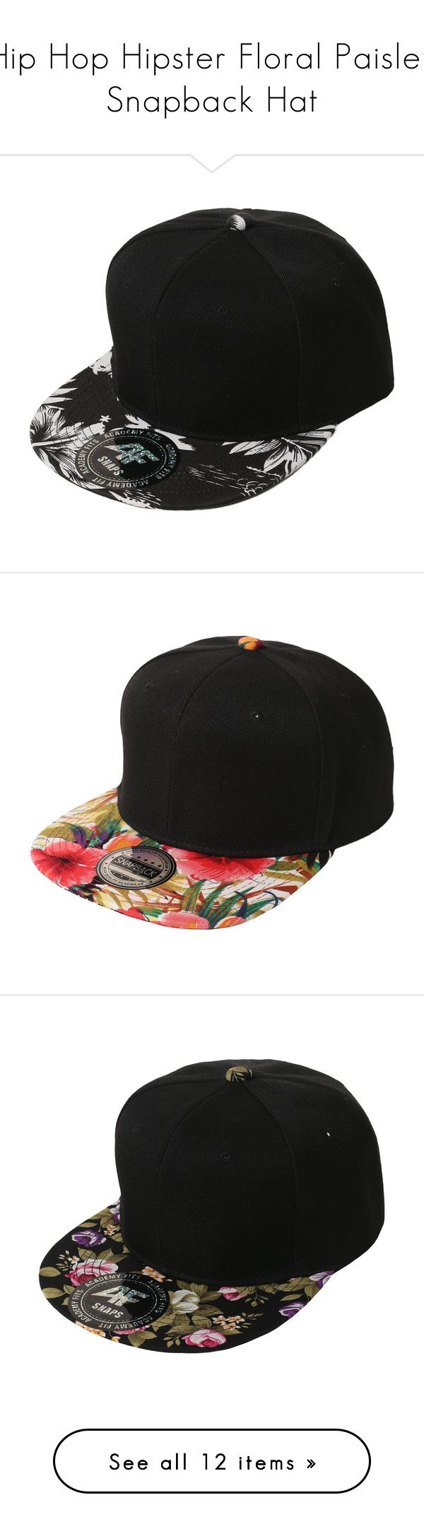 """Hip Hop Hipster Floral Paisley Snapback Hat"" by smithjay ❤ liked on Polyvore featuring accessories, hats, hipster hat, cap snapback, black white snapback hats, black and white snapback, snap back cap, men's fashion, men's accessories и men's hats"