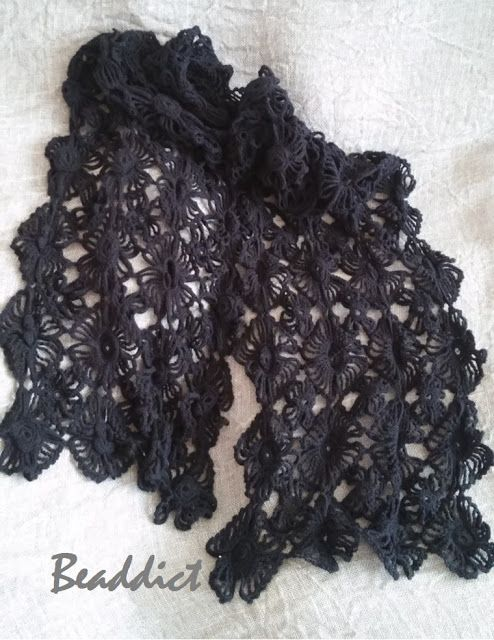 """Black Flowers"" crocheted scarf. designed and beaded by Beaddict. 100% cotton."