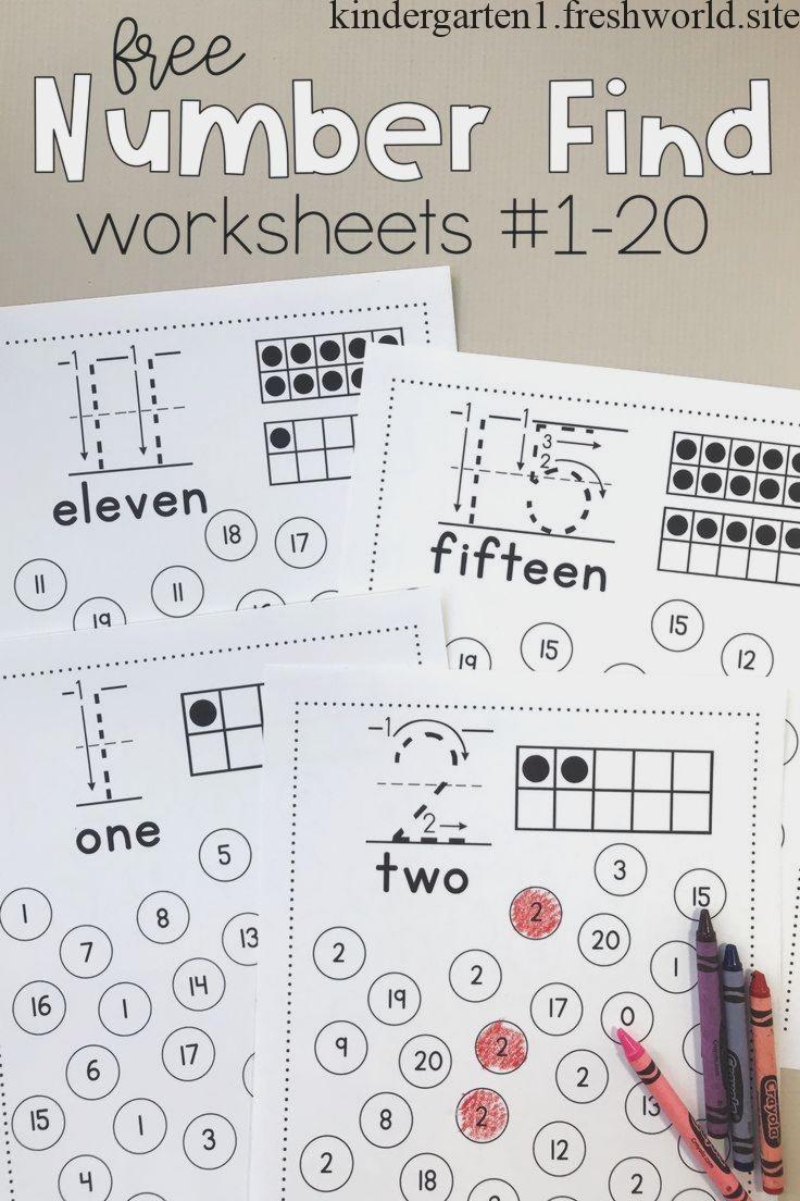 Number Find Worksheets 1 20 Kindergarten Math Activities Free Kindergarten Worksheets Number Recognition Worksheets [ 1104 x 736 Pixel ]
