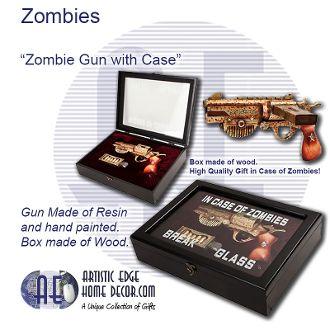 In Case of Zombies Break Glass – Zombie Steampunk Gun in Case