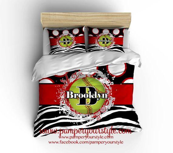 Softball Bedding Zebra Softball Comforter by PAMPERYOURSTYLE
