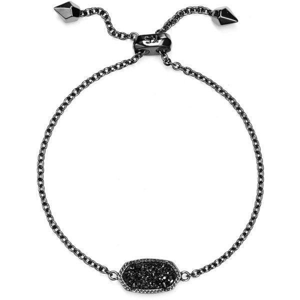 Kendra Scott Elaina Bracelet ($68) ❤ liked on Polyvore featuring jewelry, bracelets, black drusy, druzy jewelry, drusy jewelry, kendra scott and kendra scott jewelry