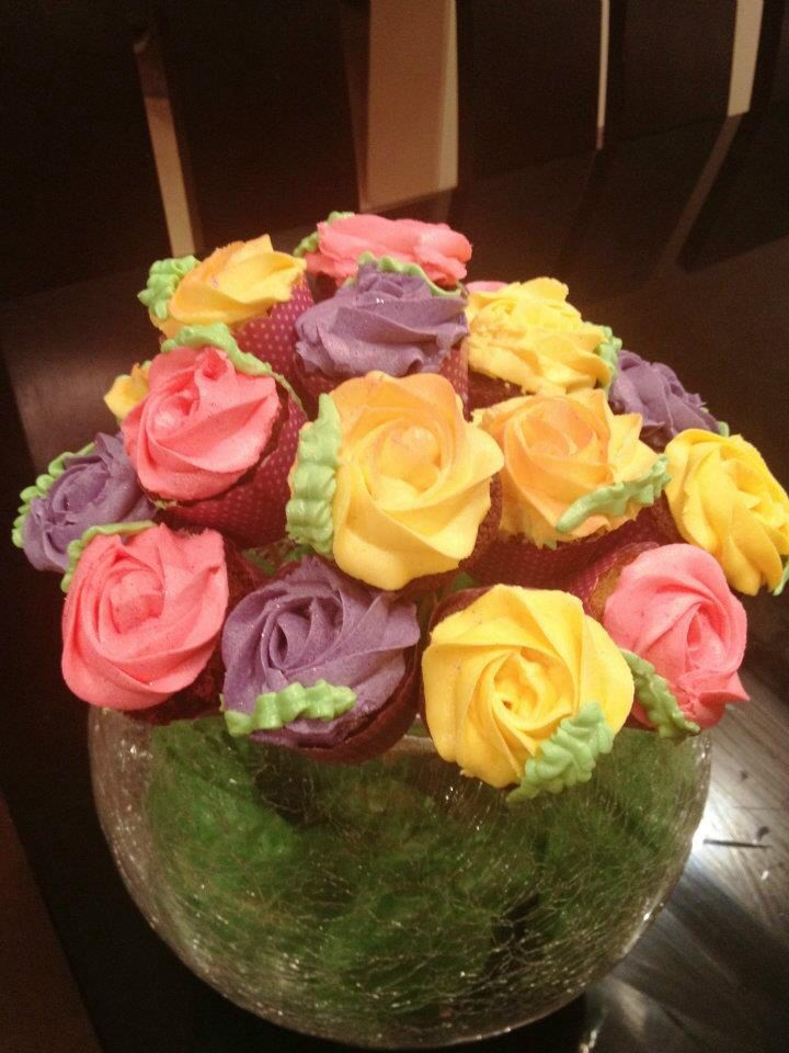 Rose cup cake bouquet.