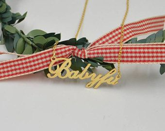 Personalized Name Necklace-Gold nameplate necklace-custom name jewelry-Bridesmaid gift-New Mom gift