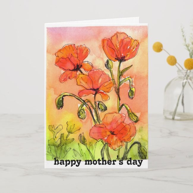 Watercolor Painting Red Poppies Mother S Day Card Zazzle Com
