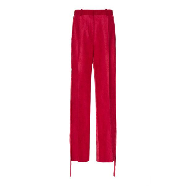 Givenchy Wide Leg Trousers (€2.225) ❤ liked on Polyvore featuring pants, pink, wide leg trousers, givenchy, white wide leg pants, white wide leg trousers and mid rise pants