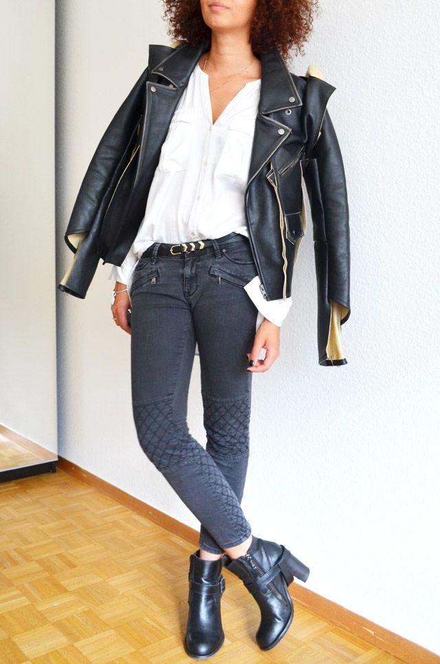 #mercredie #blog #mode #fashion #geneva #suisse #switzerland #blogueuse #bloggeuse #blogger #outfit #inspiration #look #jean #biker #Zara #grey #gris #zip #zippers #maison #martin #margiela #h&m #leather #jacket #mmm #2012 #chemise #white #shirt #jennyfer #belt #gold #afro #hair #ginger #Allsaints #All #Saints #Jules #heeled #boots