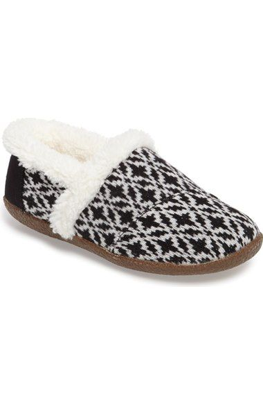 TOMS black/black diamond print slippers - size 9