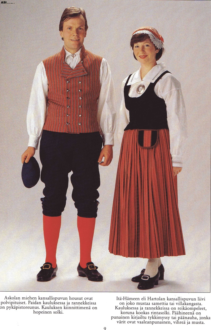 "My grandmother had this ""Hartola/Itähäme (Eastern Tavastia)"" dress... The blouse was ""wrong"", it was a white, ugly thing, made of piquet, not of linen, with no embroidery. I love the colors of the skirt; coral red, warm green and black dots with thin white stripes... and I love the velvet vest with the velvet buttons and the details in back..."