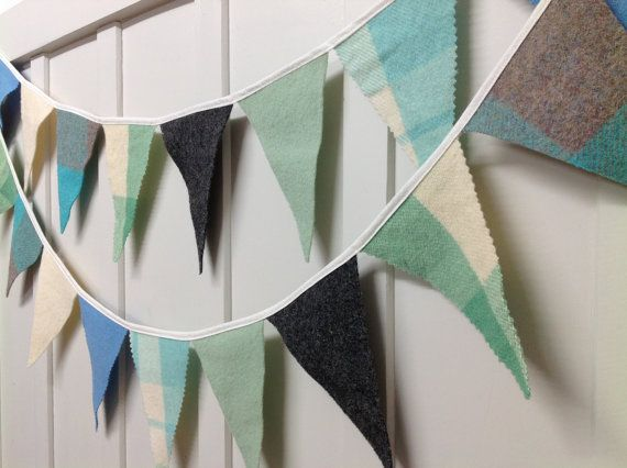 Recycled woollen blanket bunting - (Baby Boy)