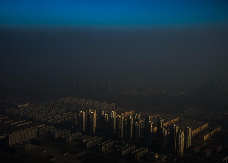 A city in northern China shrouded in haze, Tianjin, China.