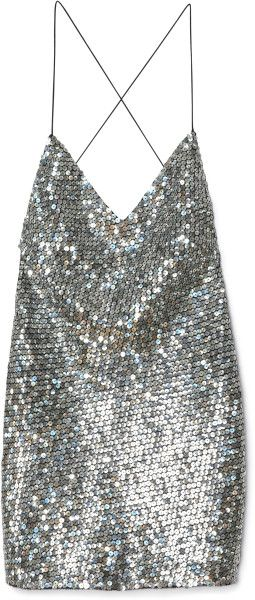Marc Jacobs Pewter Mirror Sequin Tank Dress in Silver (pewter)