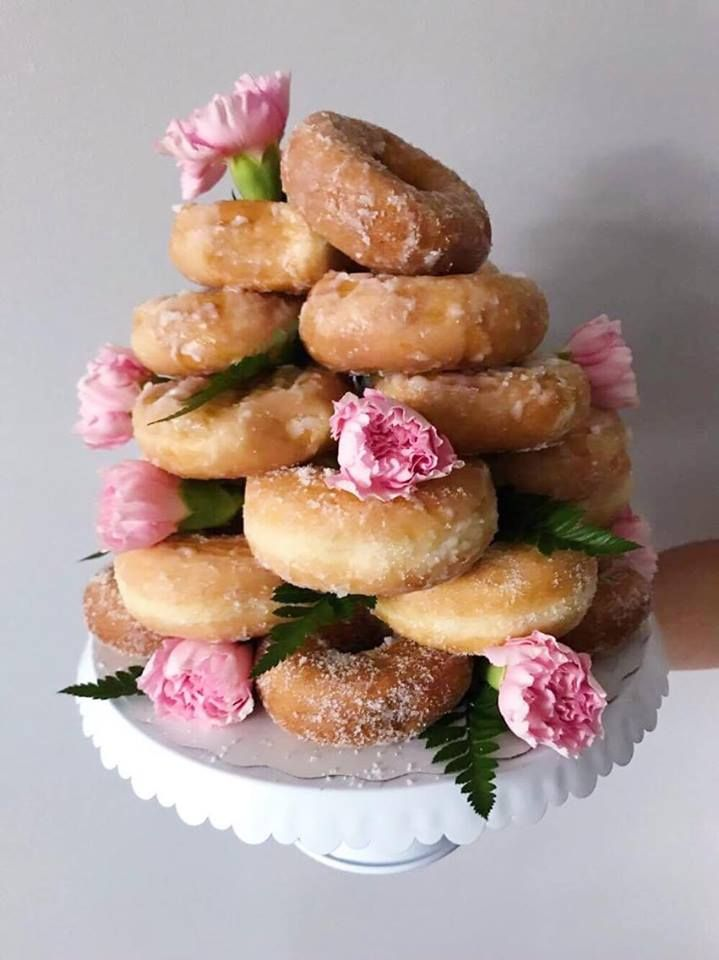 I opted out from the $100.00 most bakeries are charging for a doughnut tower and made one for the amazing price of $12.00!