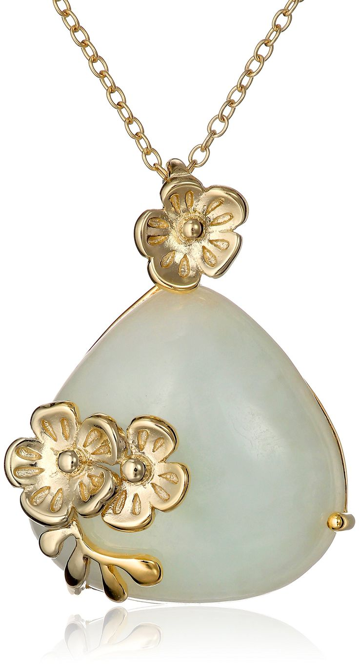 "18k Yellow Gold-Plated Sterling Silver Jade Teardrop and Flower Pendant Necklace, 18"":"