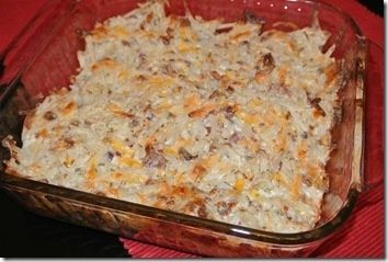 Loaded Potato Casserole: 1 container (16oz) sour cream, 1 cup cheddar cheese, 1 bag (3oz) real bacon bits, 1 package ranch dip mix 1/2 bag frozen hash brown potatoes all in the oven at 400 degrees for 45-60 minutes!