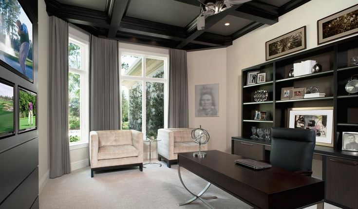 Modern Home Office Home Study Grey Accents Dark Wood Furniture And Media Console Dark Wood