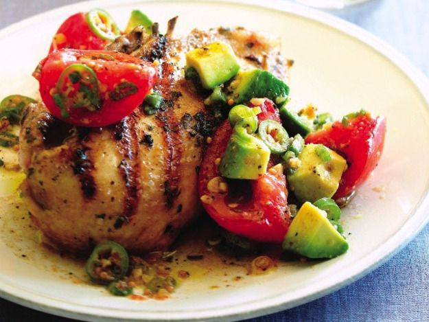 Cook the Book: Grilled Cilantro Chicken with Pickled Tomato and Avocado Salsa | Serious Eats : Recipes