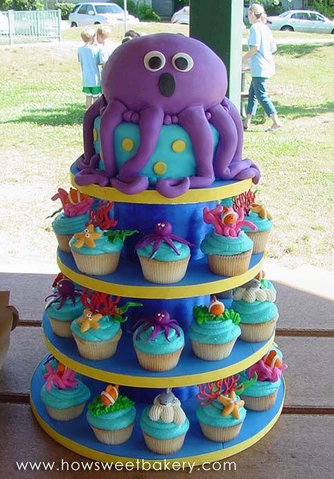 octopus cupcakes! ethan-s-party: Ocean Theme, Cakes Ideas, Sea Cakes, Birthday Parties, Sea Parties, Parties Ideas, Cupcakes Towers, Octopuses Cakes, Birthday Cakes