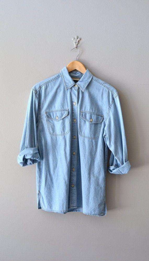 vintage denim shirt / classic denim shirt / Chambray shirt