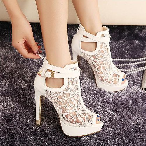 White Lace Design Chunky Heel Peep Toe Fashion Sandals