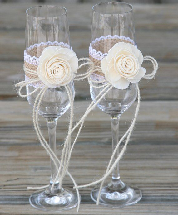 Rustic Wedding Glasses Champagne Flutes With Sola Flower Gift Idea