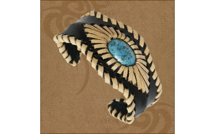 Whole Sale Leather Amazons Bangle W/Turquoise - LB129
