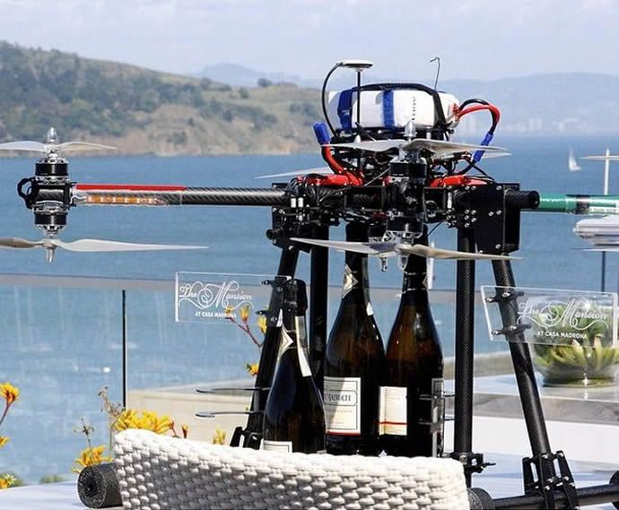 Top 100 Luxury Trends of 2014 #48 Champagne Delivery Drones Casa Madrona Sends Champagne to High-Paying Guests by Drone Delivery