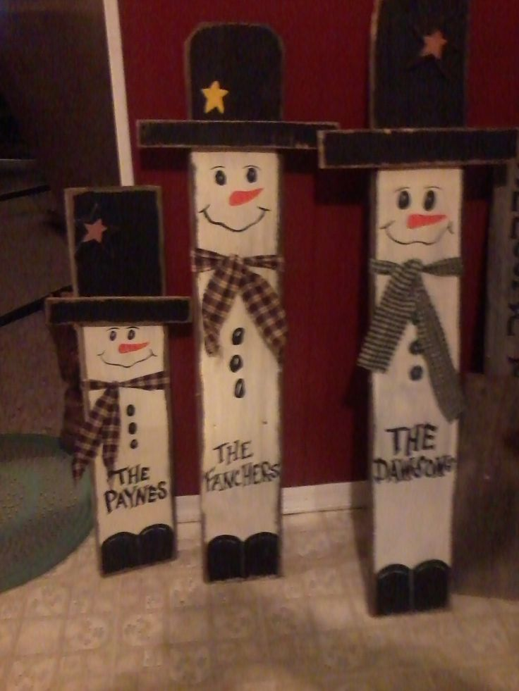 Barn wood snowmen personalized Christmas gifts