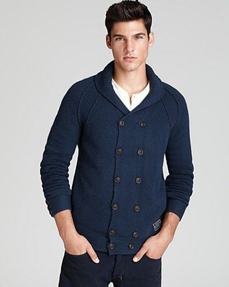 Shop this look for $192:  http://lookastic.com/men/looks/white-henley-shirt-and-navy-double-breasted-cardigan-and-navy-chinos/341  — White Henley Shirt  — Navy Double Breasted Cardigan  — Navy Chinos