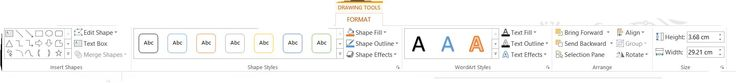 Screenshot of Format Drawing Tools in PowerPoint 2013.  On a Windows 8.1 Home Premium Laptop.  Taken on 28 November 2014.