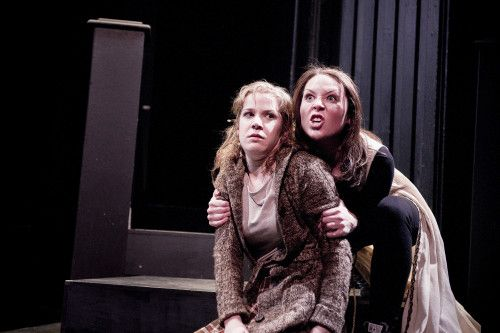 Lesley Robertson and Cydney Penner in Goodnight Desdemona Good Morning Juliet at Hart House Theatre, photo Scott Gorman