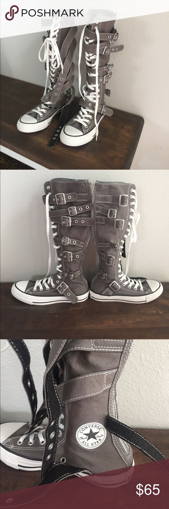 CONVERSE ⭐️ ULTRA HIGH TOP CHUCK TAYLORS Super cute gray canvas converse extra high tops! Laces all the way up and zips in the back. Converse Shoes Sneakers
