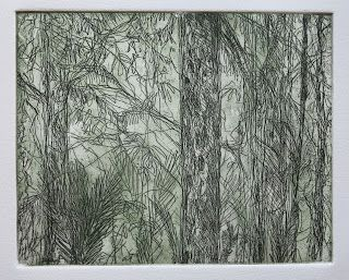 Frances' forest, etching