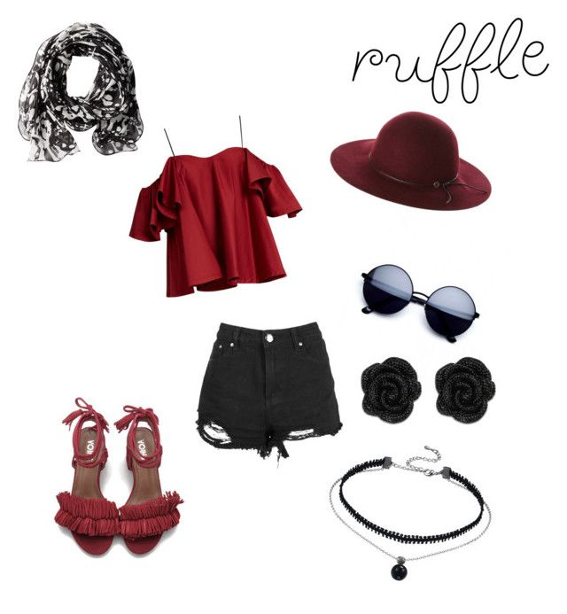 """ROUGE"" by badass-girly on Polyvore featuring Anna October, Calvin Klein, Fallenbrokenstreet and ruffles"