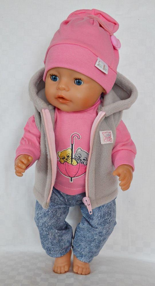 Puppenkleidung 4-tlg Set Hose//Jacke  für Baby Born 43 cm Neu!