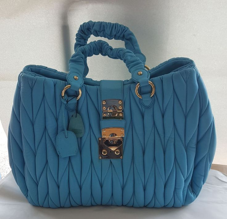 Borsa in vera pelle trapuntata intrecciata colore turchese   bag leathear great